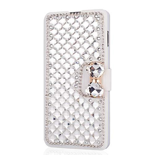 King phone Handyhülle kompatibel mit iPhone 5 iPhone 5S iPhone SE Glitzer Diamant Strass Bling Leder Hülle Flip Slim Case mit Kartensteckplätze Standfunktion Schutzhülle - Weiß (Cases Bling Iphone 5 Bow)