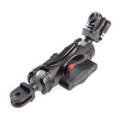 iSHOXS Small Grab Basic 60, Flexible Verlängerung aus Aluminium passend für GoPro kompatible Kamera-Halterungen - Kugelköpfe aus Kunststoff - Motorrad-helme Zubehör