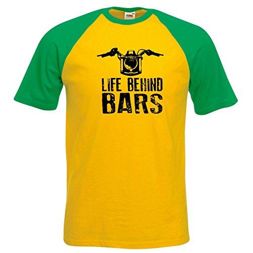Life Behind Bars Motorrad Design BaseBall T Shirt Retro Sonnenblume Kelly Arms