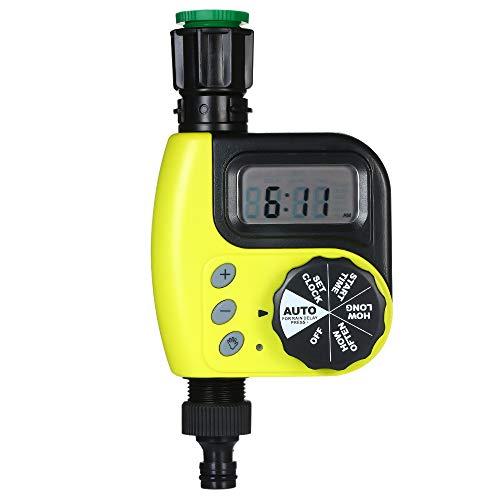 Fesjoy Programmierbarer Schlauch-Wasserhahn-Timer, automatische Wasser-Timer-Sprinkler-Timer-Bewässerungs-Prüfer-Bewässerungs-Vorrichtung mit 1 Ausgängen ohne Batterie für Garten -