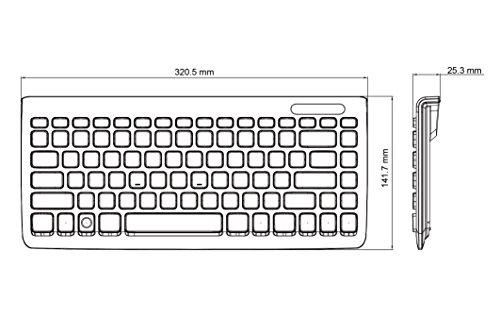 Perixx PERIBOARD-407W DE, Mini Tastatur - USB - 320x140x14mm Abmessung - Klavierlack Weiss - QWERTZ DE Layout - 7