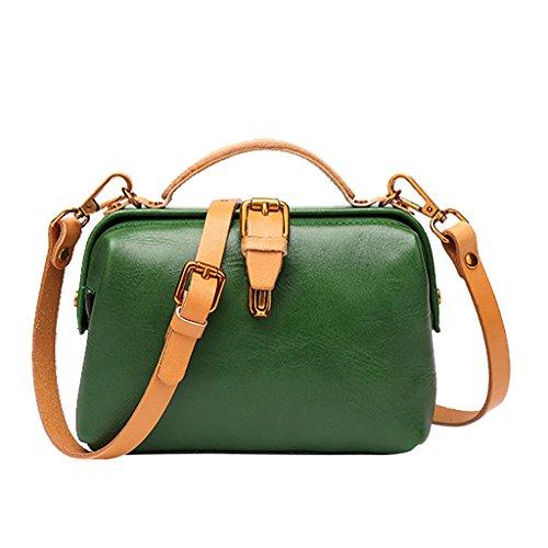 Mena UK Borsa di cuoio molle di stile dell'annata della signora e delle donne grandi borse della spalla ( Colore : Marrone , dimensioni : 20cm*13cm*8cm ) Verde