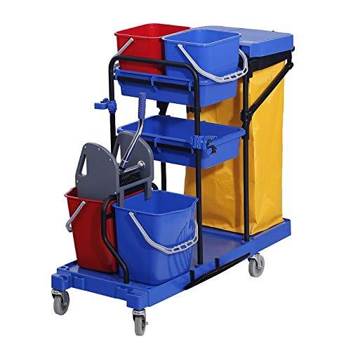 Chiner - Multifunktions-Reinigungswagen HELENA. Kompletter Profi-Reinigungswagen mit Doppeleimer mit Presse, Hilfseimer, extra großer Segeltuch, Deckel, Rollen und robuster Stahlgestell.