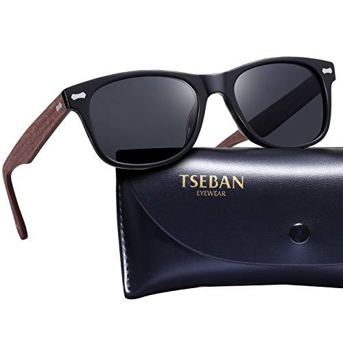 TSEBAN Retro Polarisierte Damen Sonnenbrille Herren Sonnenbrille 100% UV400 Schutz Fahrer Brille Acetat Rahmen (Damen, Damen & Rahmen: Holz; Linsen: Schwarz)