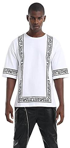 Pizoff Unisex Hip Hop basic Oversized T-shirts mit 3/4-Arm Bahnendesign in Schwarz Weiß (Hip Hop Mode Sonnenbrillen)