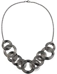 Johareez Long Plain Black Metal Spring Necklace Set For Women