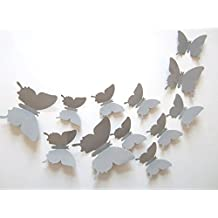 SUNBEAUTY 1 Paquete de 12 piezas mariposa 3D adorno para hogar pared dormitorio casa decoración para cumpleaños festoval San Valentines (Gris)