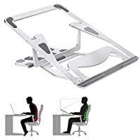 TINGTING Laptop Stand, Adjustable Foldable Portable Laptop Stand, Universal Ergonomic Holder Aluminum Ventilated Laptop Holder with Anti-Slip Design