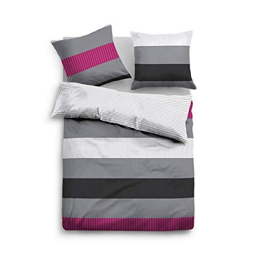 Tom Tailor Wendebettwasche Casual Stripe 49612 805 Grau 1 Bettbezug 135x200 Cm 1 Kissenbezug 80x80 Cm