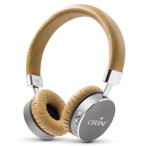 Cuffie Bluetooth, Orinsong Auricolari Wireless Bluetooth 4.1 Tecnologia Avanzata Durata Batteria Estesa con Microfono Incorporato per Chiamate Cellulare Cuffie Antisudore (Marrone)