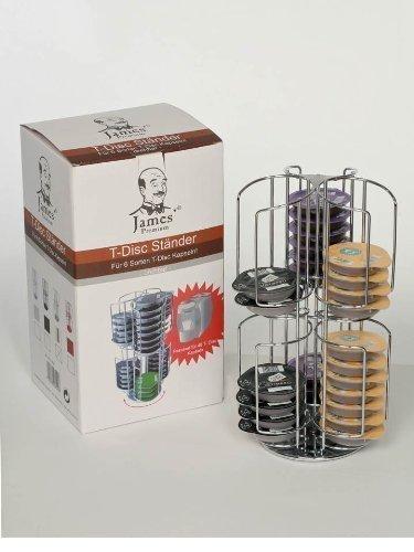 Tassimo Zubehör drehbarer Ständer passend für 48 T-Disc  + Aktionsangebot mit einem Schokostreuer aus Glas