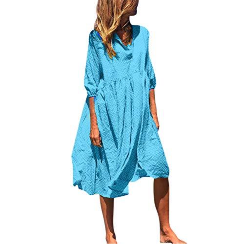 Überprüfen Sie Die Muster Mens Kleid Shirt (Amphia Damen Elegant Lang Maxikleid Abendkleid,Frauen-Knopf-Kragen-Laternen-Hülsen-geometrischer Druck-Loses Midi-Kleid)