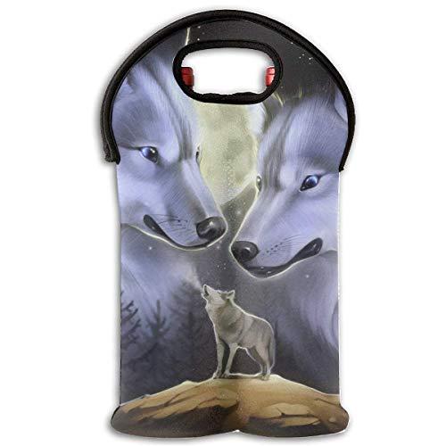 Neoprene Wine Tote Bag Insulated Moon Wolves Family Travel Padded 2 Bottle Wine/Champagne Cooler Carrier Bottle Neoprene Wine Tote Bag