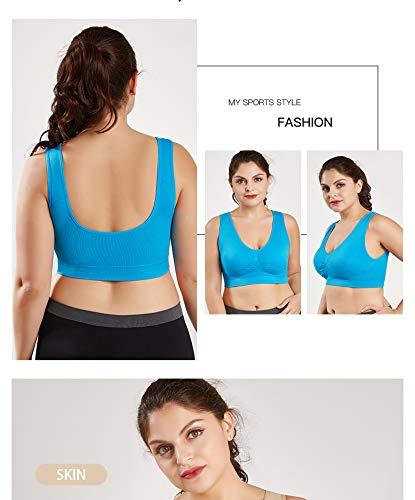 UKKD BHS für Frauen Push-Up-BH Übergröße BH für Frauen Dessous nahtlos mit Pads Sport BH Big Size Bralette Gr. XXXXXL, blau - 3