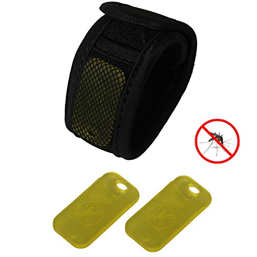 eJiasu Mosquito Repellent Clip + Anti-Moskito Insektenschutz Wristband für Menschen (1PC schwarzer Anti-Moskito Wristband + 1PC gelber Anti-Moskito-Klipp)