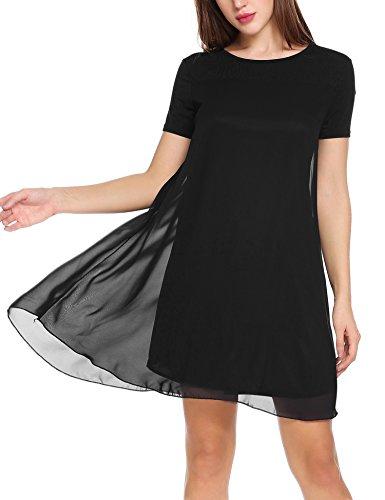 Zeagoo Damen Chiffon Kleid Strandkleid Sommerkleider Mini Partykleid A-Linie Kurz Schwarz S