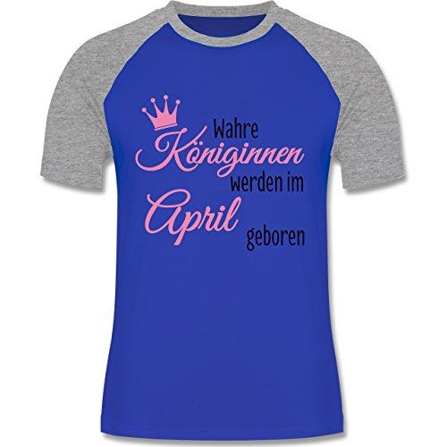 Geburtstag - Wahre Königinnen werden im April geboren - zweifarbiges Baseballshirt für Männer Royalblau/Grau meliert