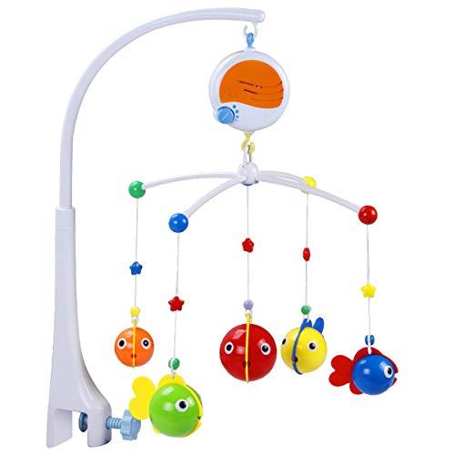 Xinfang Baby Musical Krippe Mobile, Kinderbett Dekoration Spielzeug Hängen Rotierende Glocke mit Melodien Dual Zweck Fisch Mobile