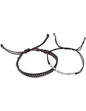 KELITCH Armband 2 Stück Dünn Seil und Metall Curb Kette Leder Freundschaftsarmbänder