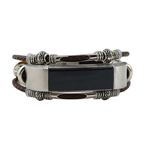 Vamoro Ersatz Leder Armband Armband für Fitbit Alta/Fitbit Alta HR Lederarmband Ersatzband Ersatz Uhren-Armband(Coffee)