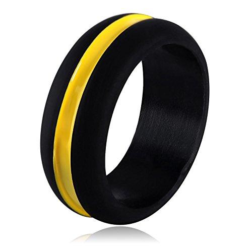 AMDXD Sport Schmuck Silikonring Herren 9mm Streifen Gelb Ring Silikon Finger Größe 62 (19.7) (Prime Freimaurer Ringe)