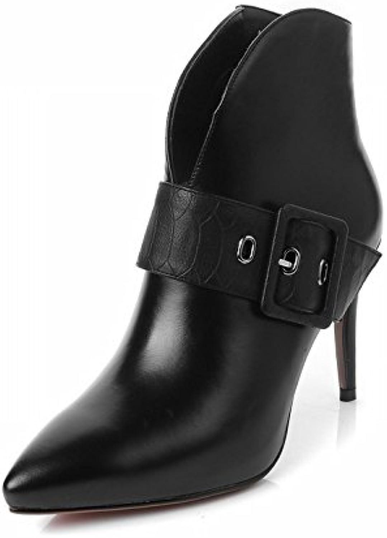 HH Otoño E Invierno Puntiagudas Hebilla de Cinturón Cremallera Lado Botas de Tacón con Botas de Cuero Mujer Cuero...