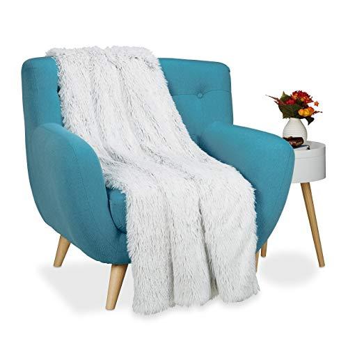 Relaxdays Kuscheldecke Felloptik, Decke Fellimitat, Tagesdecke xxl, Wohndecke flauschig, BxT ca. 150 x 200 cm, weiß-grau
