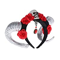 Bonarty Skull Head Simulated Goat Horn Head Band Unisex Headwear Party Costume Prop - Silver Red Flower, as described