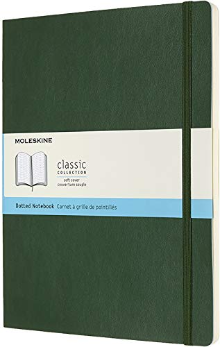 Moleskine Klassisches Notizbuch (mit Punktraster, Softcover mit Elastischem Verschlussband, Größe A4 19 x 25, 192 Seiten) myrte grün