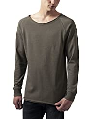 Urban Classics Herren Sweatshirt Long Open Edge Terry Crewneck