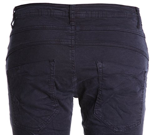 "Jeans pour femme coupe boyfriend aladin harem pantalon chino baggy taille basse boyfriendjeans boyfriendhose batik look ""destroyed"" Marine (Modell 2)"