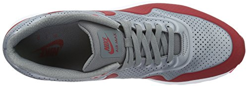 Nike Air Max 1 Ultra Moire, Low-Top Sneaker Homme Gris / Rojo / Blanco (Mtlc Cool Grey/Gym Red-White)