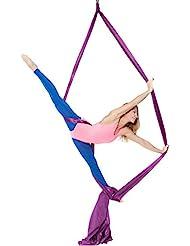 Y-Bestar Yoga Swing Volando Hammock elástico acrobatica aérea 10 metros de largo de 2,8 m de ancho sin Junta de goma elástica anti gravedad media aire Yoga Hamaca inversión balanceo aérea 'Pilates Yoga Fitness, violeta