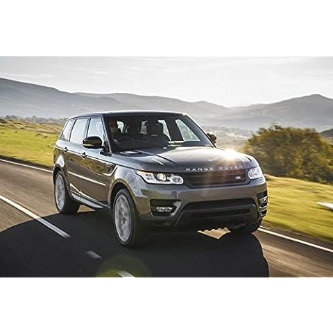 Classic y los músculos de los coches y para coches Land Rover Range Rover Sport V8 sobrealimentados (2013) coche Póster en 10 mil Archival papel satinado plateado Ver movimiento lateral, papel, Silver Front Side Motion View, 36