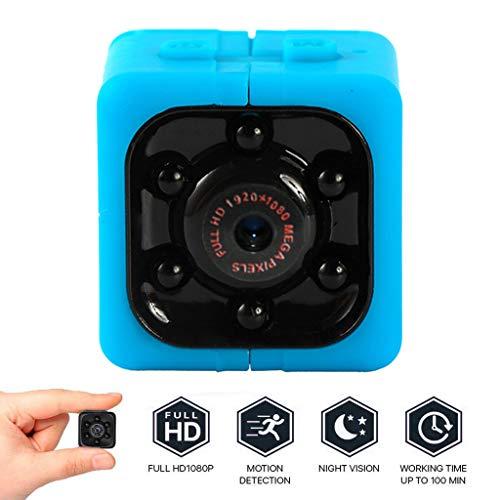 Mini Kamera Überwachungskamera 1080p HD Camera Tragbare Kleine Kamera mit Videokamera Mikro Nanny Cam mit Bewegungserkennung und Infrarot Nachtsicht -Rot blau (Blau) (Hd-wireless-spion-kamera)