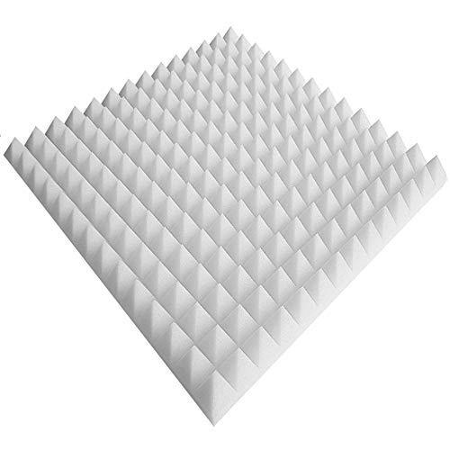 Pyramiden Noppenschaumstoff,Akustik Schaumstoff, Akustikschaumstoff, Pyramiden Akustik, Dämmung (99 x 99 x 3 cm, Weiß)