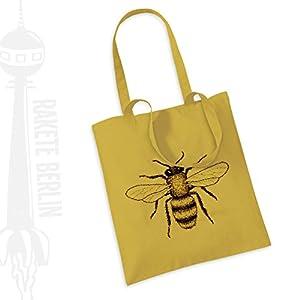 Jutebeutel Stoffbeutel ' Biene gezeichnet '