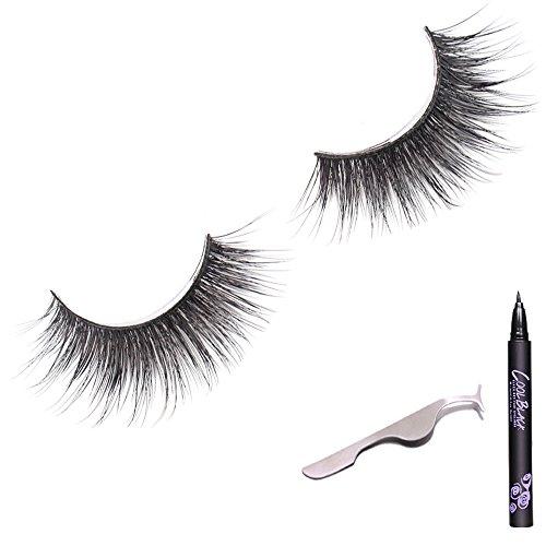 Faux Cils 3D Cils épais naturels [Eyeliner gratuit et pincettes] Cils en soie tridimensionnels Faux cils