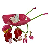 Little Pals Childrens Wheelbarrow and Grow Your Own Set, Pink, with Kids Garden Tools and Gloves