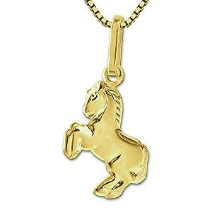 CLEVER SCHMUCK Set Goldener Anhänger Kleines Pferd 10 mm springend glänzend 333 Gold 8 Karat mit vergoldeter Kette Venezia 42 cm im Etui