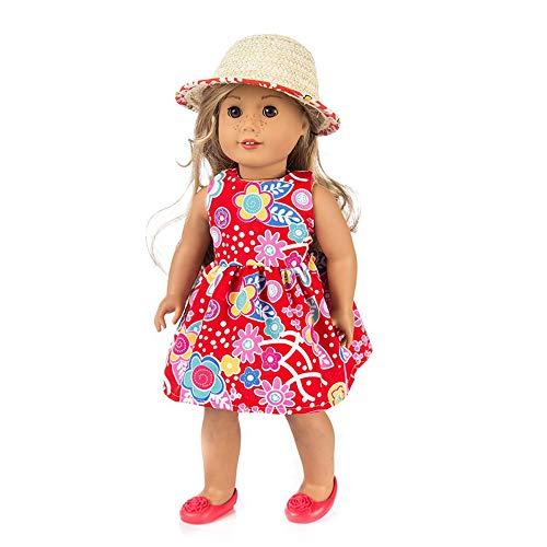 Puppenkleidung , YUYOUG Schöne Blume Gedruckt Kleidung Kleid Party Rock + Hut Für 18 Zoll Unsere Generation American Girl Puppe Zubehör Mädchen Spielzeug Weihnachten Geburtstagsgeschenk (Rot) (Bitty Baby Schuhe)