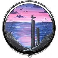 LinJxLee Sunset Bird On Deadman Round Pill Case Pill Box Tablet Vitamin Organizer Easy to Carry preisvergleich bei billige-tabletten.eu
