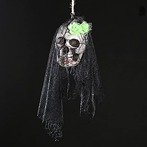 Zantec Halloween Scary Skull Hanging Ornaments Wand Tür Fenster Pendent Ghost Skeleton Requisiten Halloween Party Dekor Haunted Häuser Bars Dekorationen
