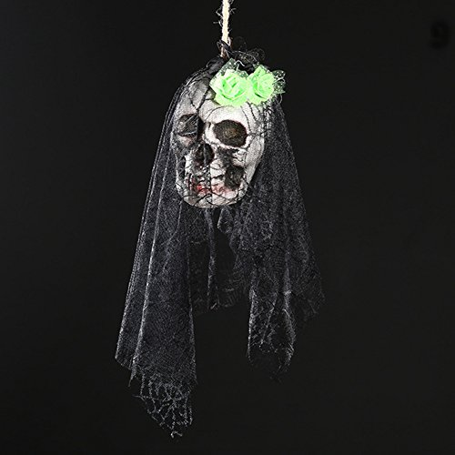 Zantec Halloween Scary Skull Hanging Ornaments Wand Tür Fenster Pendent Ghost Skeleton Requisiten Halloween Party Dekor Haunted Häuser Bars (Halloween Animierte Requisiten)