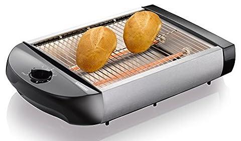 Melissa 600 Watt Grille-pain plat - Torréfacteur de table avec amovible Tiroir ramasse-miettes - Noir/Argent