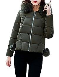 56c78c9b8bfa FNKDOR Womens Ladies Quilted Winter Coat Puffer Fur Collar Hooded Jacket  Parka Coat