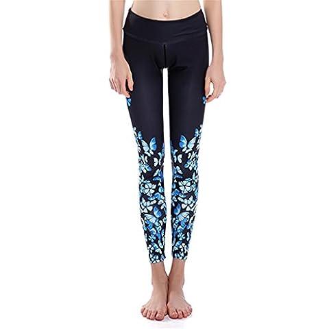 Frauen Abnehmen Yoga Leggins Elastisch Schmetterling Drucken Strumpfhose Outdoorhosen L