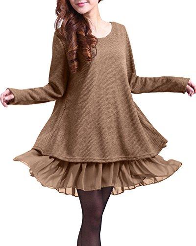 ZANZEA Damen Stricken Chiffon Strengthen a attack Langarm Jumper Mini Kleid Pullover (EU 36 / US 4, Khaki)