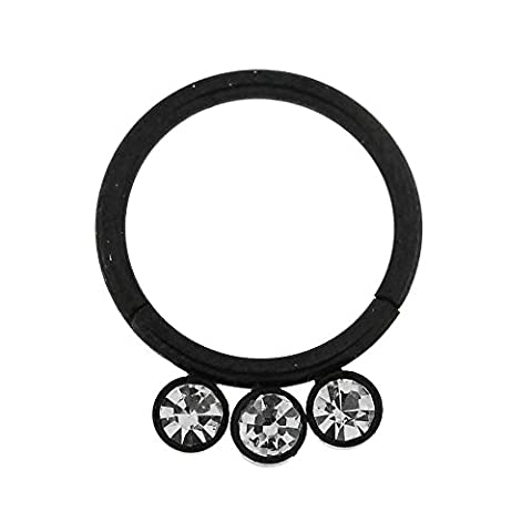 16 Gauge - 10MM Length Black Anodized Surgical Steel 3 CZ Stones in Bezel Set Hinged Segment Ring Nose Ring Piercing