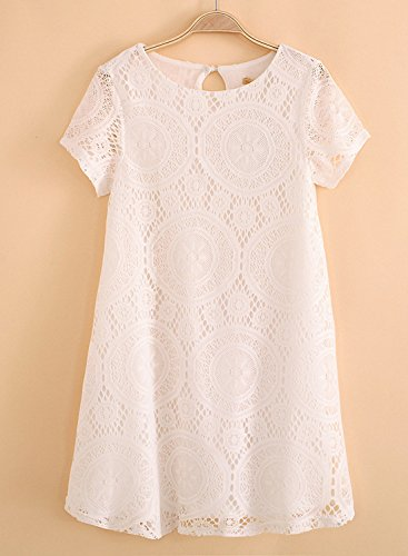Damen Spitzenkleider Kleid Skaterkleid Freizeitkleid Kurzarm Rundhals Aushoshlen A-Linien-Form Leicht Baggy Flauschig Einfarbig Weiß